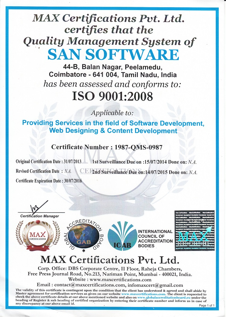 ISO Certified Software Company in Coimbatore
